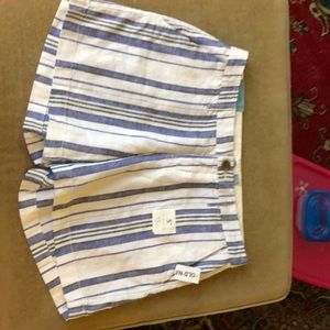 Old navy linen blue white shorts size 2 NWT